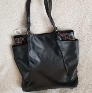 NEW Large Black tote with Leopard Cheetah Trim